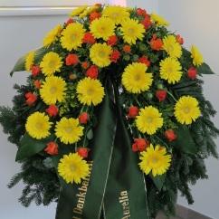 Kranz gelbe Gerbera, orange Rosen