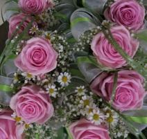 Banksträußerl rosa Rosen